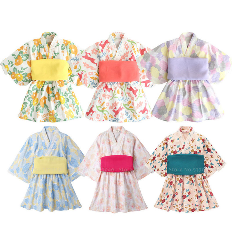Baby Girl Kimono Rompers Japanese Style Kawaii Bath Robe Gown Kids Floral Print Yukata Party Dress Cosplay Costume Asian Clothes
