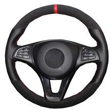 Diy trança capa de volante do carro envoltório camurça couro de vaca para mercedes benz vito iii (w447) 2015   2018 2019 2020 automóvel