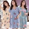 Nachthemden Frauen Floral Gedruckt Plus Größe M-4XL Sommer Sleep Kurzarm Casual Nachtwäsche Charming Nachtwäsche Komfortable
