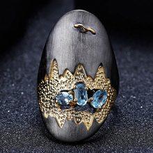 Vintage Massiven Schwarz Ringe für Frauen Luxus Säure Blau Kristall frauen Engagement Ring Weibliche Hochzeit Schmuck Geschenke 2021 Neue