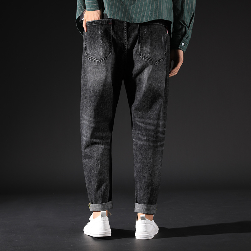 [Youpeng] Autumn And Winter New Style With Holes Loose-Fit Jeans Men's Teenager Elasticity Casual Capri Pants Versatile Baggy Pa