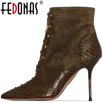 FEDONAS Brand Sexy Spring Summer Women High Heels Pumps Cross-Tied Sexy Night Club Pointed Toe New Side Zipper 2020 Shoes Woman