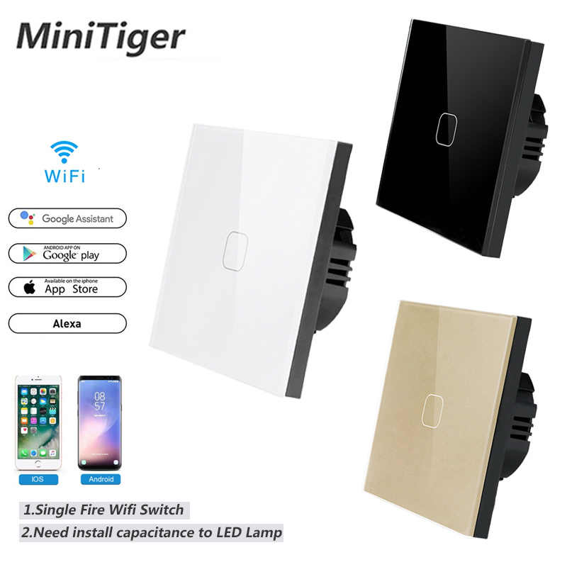 Minitiger Smart Home 1/2/4 Gang 1 way Wireless WiFi EU Standard Touch Switch Wall Light Touch Switch,ewelink App Control
