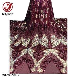 Image 5 - Yeni parlak Bling Sequins dantel 5 metre yüksek kaliteli afrika dantel kumaş örgü dantel düğün parti WDW 204