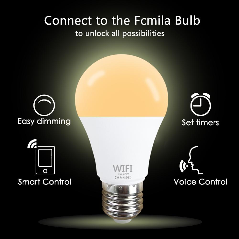 15W Wifi Smart Light Bulb RGB White Magic Lamdimmable LED E27 B22 Wifi Bulb Compatible APP Control LED Light For Home Decoration