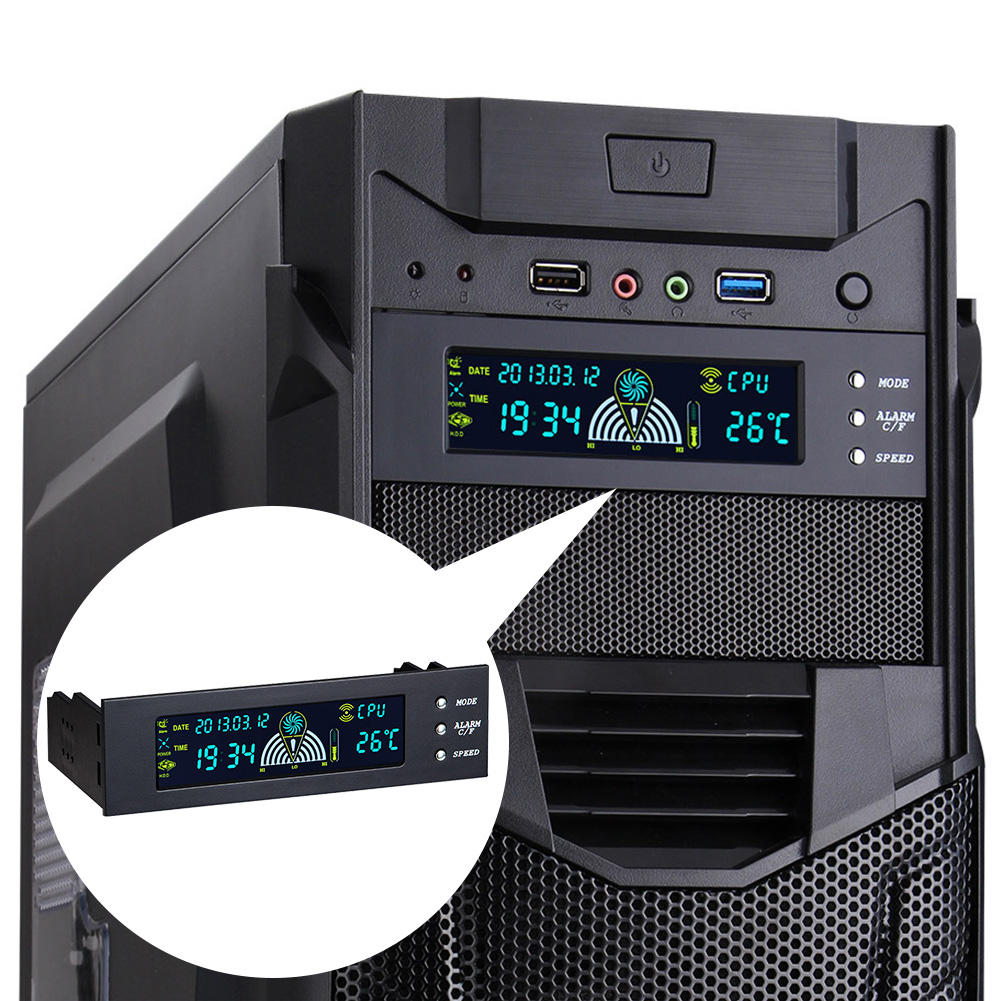 5.25 Inch PC LCD Front Panel 3 Pin USB Interface Temperature Display Home Fan Speed Controller Computer Easy Operate Accessories