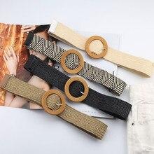 Retro Imitazione di Paglia Tessuto della Cinghia delle Donne Cintura Intrecciata Piazza Rotonda Fibbia del Cinturino Cintura Lavorata A Maglia Per La Femmina Metallo Spille Cinghia riem
