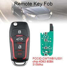 315MHz 4 Buttons Upgraded Replacement Flip Car Remote Key with 4D63 80Bit Chip Fit for Ford Mustang Edge Explorer F-150 / 250
