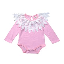 Baby Girl Clothes 2019 Autumn New Girls Embroidered Triangle Romper Infant Cotton Solid Color Long-Sleeve Jumpsuit For 0-2Y недорого