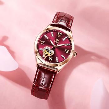 New Luxury Women Watches Automatic Mechanical Leather Wrist Watch Rhinestone Ladies Fashion Bracelet Set Gift Top Brand часы 5