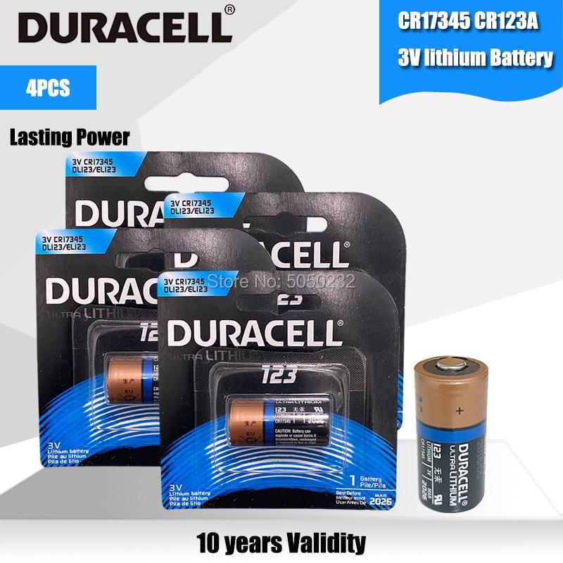 Литиевая батарея DURACELL 3 В 1550 мАч CR123 CR 123A CR17345 16340 cr123a, 4 шт.