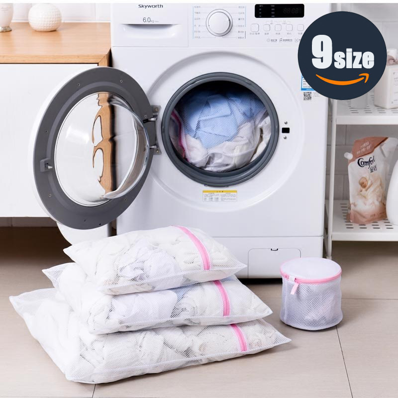 Foldable Laundry Bags Bra Socks Underwear Washing Machine Protection Bag Zippered Mesh Storage Bags Organizer Container 5 Size title=