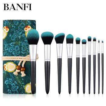 Pędzle do makijażu profesjonalne 10 sztuk szczotka pędzle do makijażu narzędzia do makijażu pędzle do makijażu zestaw kosmetyków szczotki pędzle do makijażu tanie i dobre opinie BANFI BANFI-10MLHZS Fundacja Drewna Pędzel do makijażu