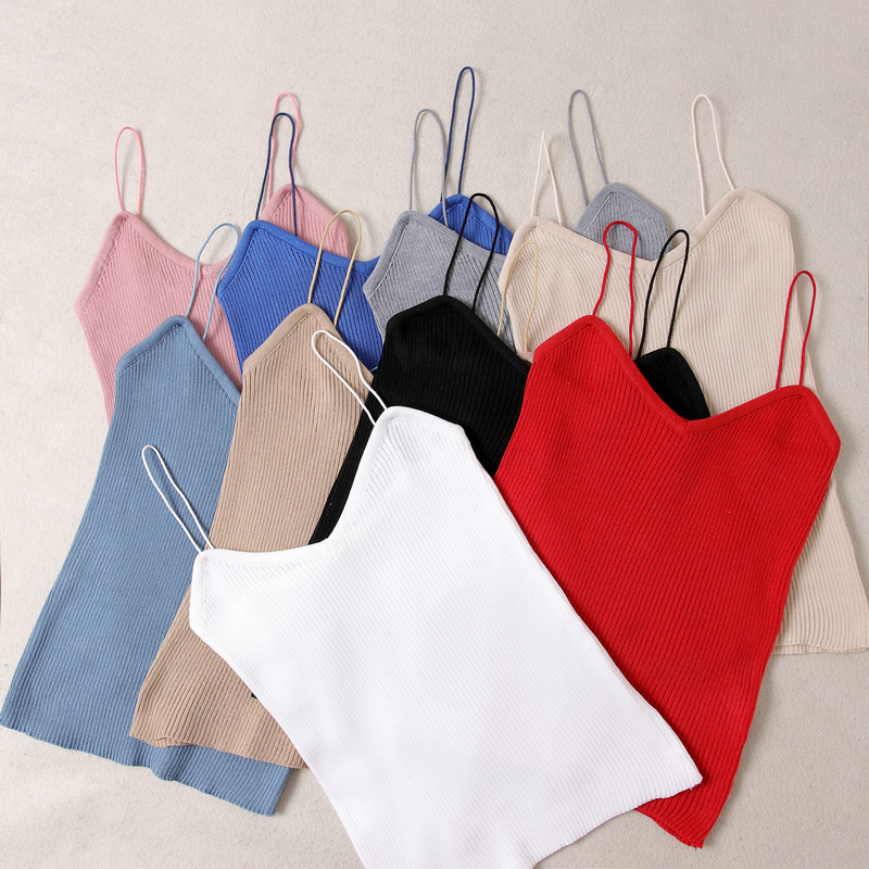 HELIAR Women V-Neck Cottons Crop Tops Spaghatti Tops Causal Sleveless Female Sexy Solid Camis 2020 Summer Crop Tops Women