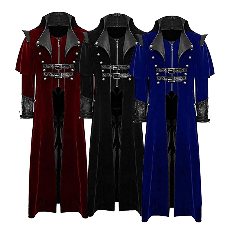 New Design Retro Gothic Coat Men Windbreaker Tailcoat Vintage Steampunk Long Coats Men Royal Style Vampire Cosplay Costume 2019
