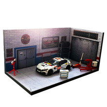 1/64 1/24 garage factory maintenance warehouse house building model for car vehicle toys collection parking lot scene background