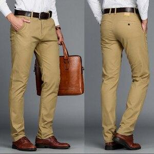 Image 2 - VOMINT Pantalones elásticos informales de algodón para hombre, pantalón largo y recto de alta calidad, 4 colores de talla grande, 42 44 46
