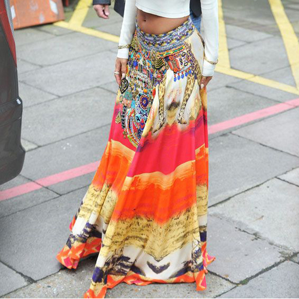 2020 Casual Bohemian Skirt Vintage Women Summer Thailand Style Floral Print Skirt High Waist Long Skirt Elegant Beach Maxi Skirt
