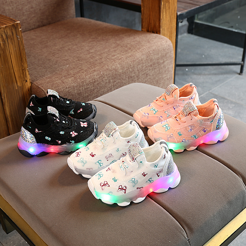 2019 <font><b>Children</b></font> Butterfly Crystal Led Luminous casual breathable Sport <font><b>Shoes</b></font> Baby Girls Sneakers <font><b>Shoes</b></font> image
