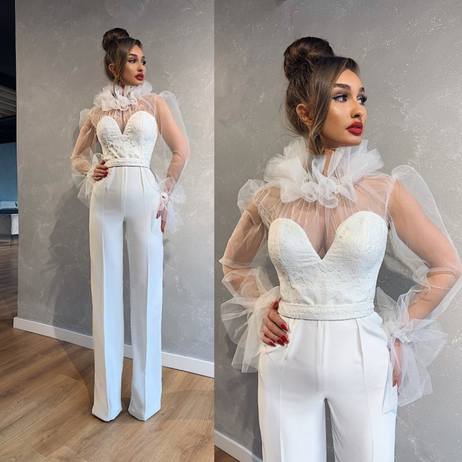 Jumpsuit Wedding Dresses Lace Applique Tulle Ruffles Long Sleeve Bridal Gowns Wedding Dress Vestido De Noiva Custom Made Bridal