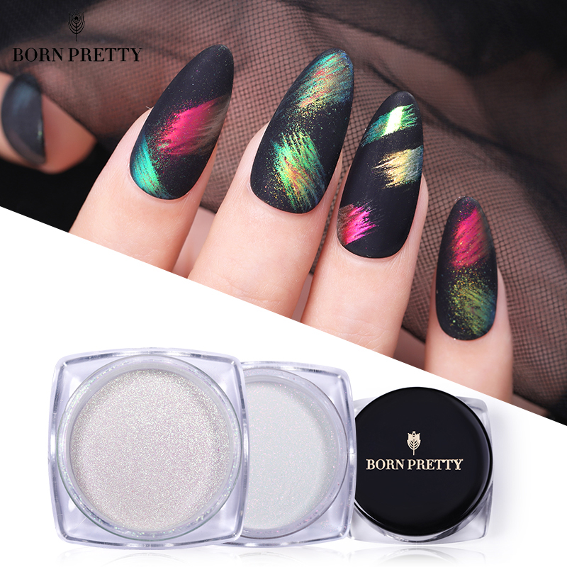 BORN PRETTY Chameleonic Nail Powder Mirror Glittering Shelly Powder Pigment Auroras Nail Effect Nail Art Decorations 0.2/0.5/1g