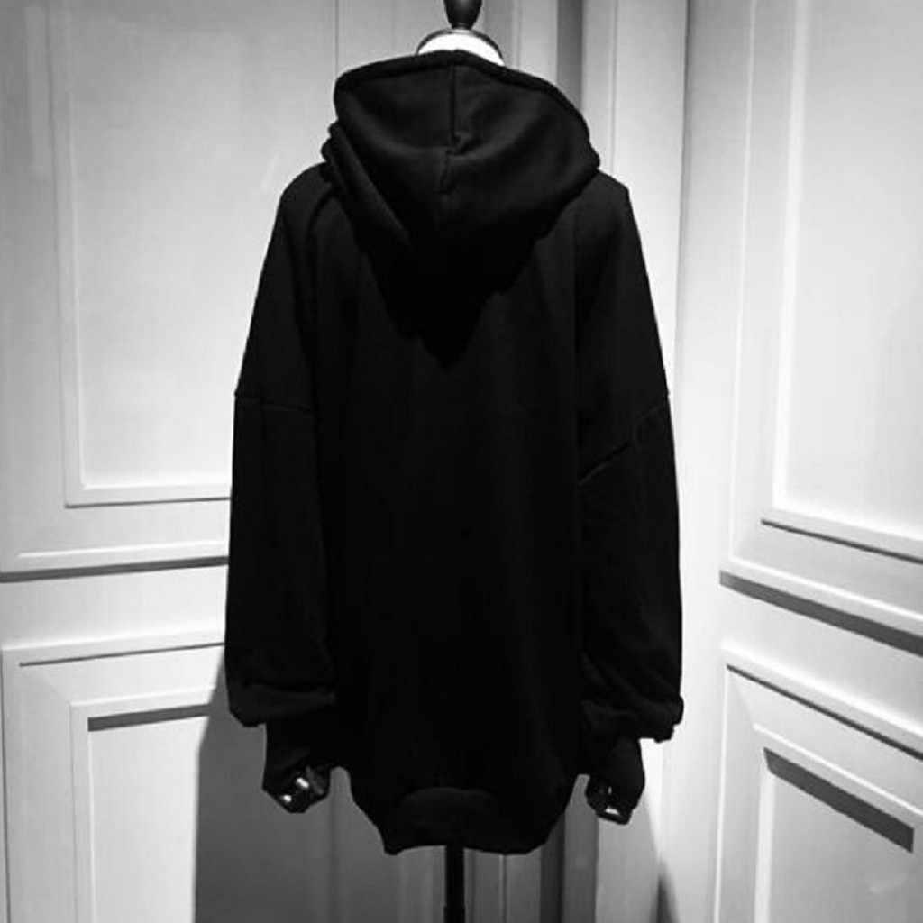 هوديس أسود فاسق البلوز طويلة الأكمام هوديي المرأة القمر طباعة الملابس القوطية Harajuku نمط الشارع الشهير القوطي الخريف أفضل # Ger