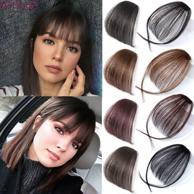 AILIADE Black Brown High Temperature Fiber Synthetic Air Bangs Fringe Natural False Hairpiece For Women 1 Clip Bangs Fake Hair