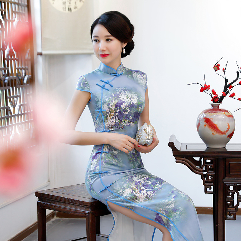 Cross Border Formal Dress 2019 Summer New Style Real Silk Retro Cheongsam Chinese Costume Short Sleeve Printed Sexy Dress Women'