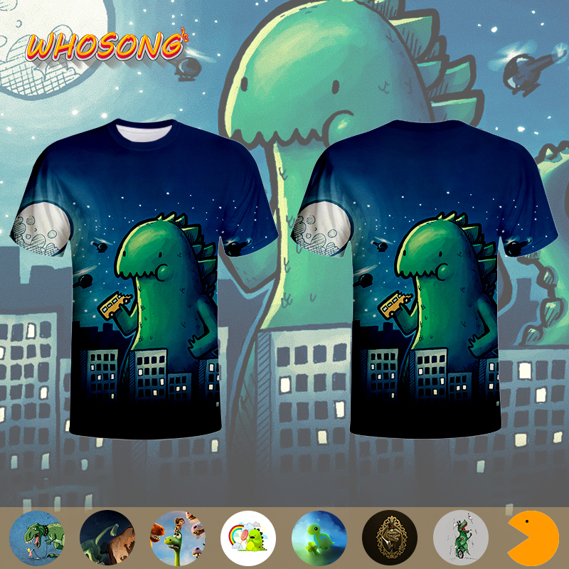 WHOSONG 3D Print Tshirt animals huge Age of Dinosaurs cartoon t shirt men's jacket short sleeve Parent child clothing|Matching Family Outfits| - AliExpress