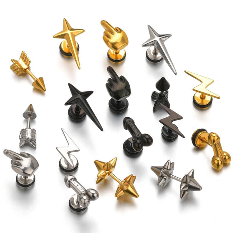 Charm Dick Penis Star Body Jewelries Punk Lip Piercing Jewelry Men Steampunk For Women Metal Gold Silver Black Christmas Gifts