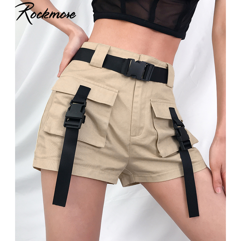 Rockmore Black High Waisted Shorts For Women Ribbon Buckle Punk Style Short Pants Harajuku Moto&Biker Shorts With Pockets Summer