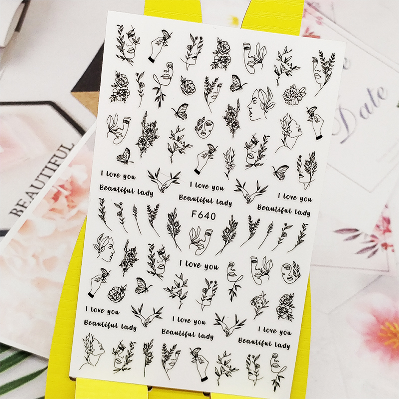 3D Nail Sticker Decals Woman Facial Flowers Design Nail Art Decorations Stickers Sliders Manicure Accessories Nails Decoraciones