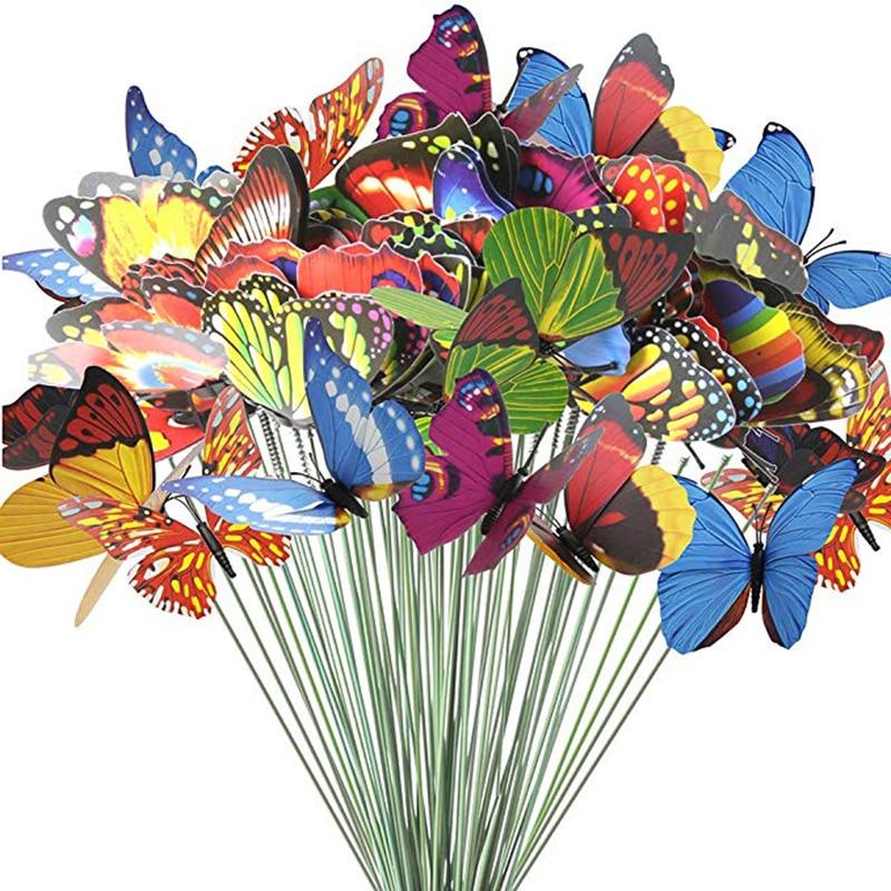 60pcs 7 Cm Butterfly Pile Garden Ornaments & Terrace Decorating Butterfly Party Supplies Garden Piles For Outdoor Garden Decorat