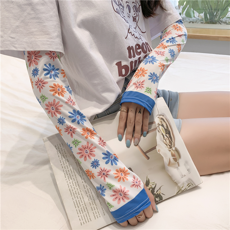 Women Sleeves Arm Wraps Fashion Floral Print Summer Sunscreen Sleeve For Lady Outdoor Sport Cool Sport Riding Drive Gloves