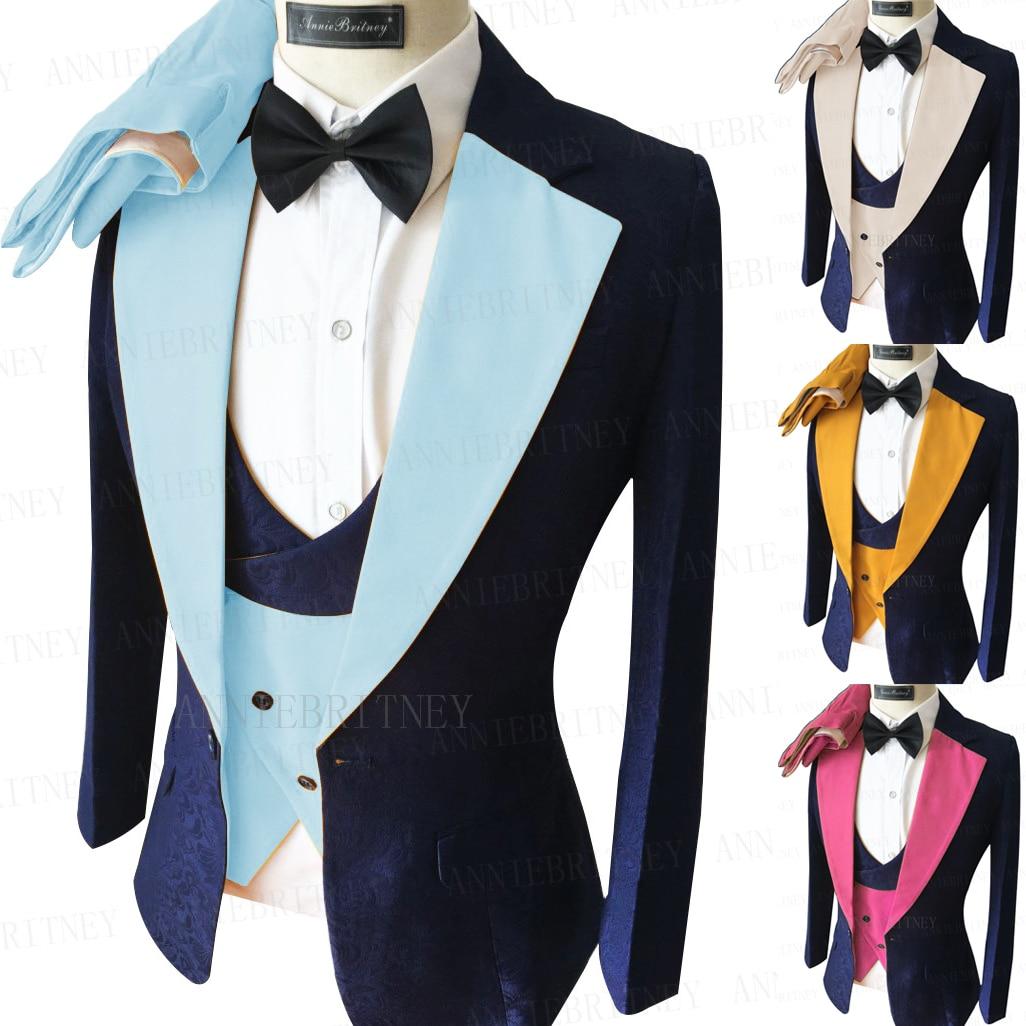 2021 Latest Jacquard Sky Blue Suit for Men Tailored Oversize Groom Wedding Jacket Luxury Dress Tuxedo Blazer Vest Pants 3 Pieces