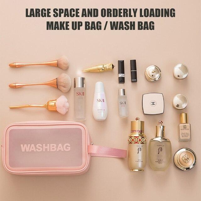 PVC Transparent Waterproof Cosmetic Bag for Women Large Capacity Portable Travel Scrub Toilet Makeup Bag Dressing Storage Bag 6