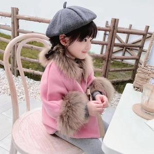 Image 2 - Cape en laine pour petite fille, manteau dhiver en laine, rouge et rose
