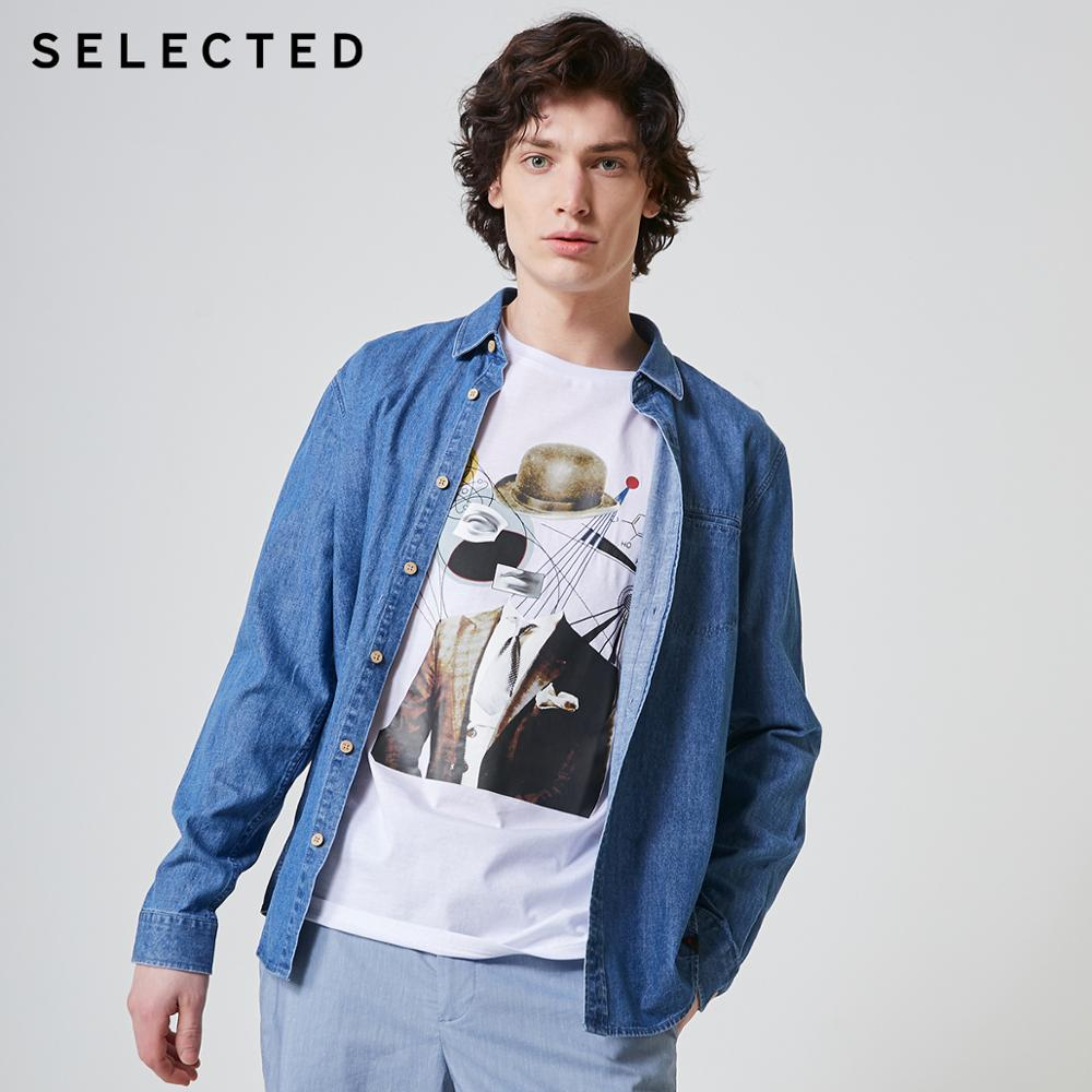 SELECTED Cotton Solid Color Business Casual Denim Men's Long-sleeved Shirt L | 417105559