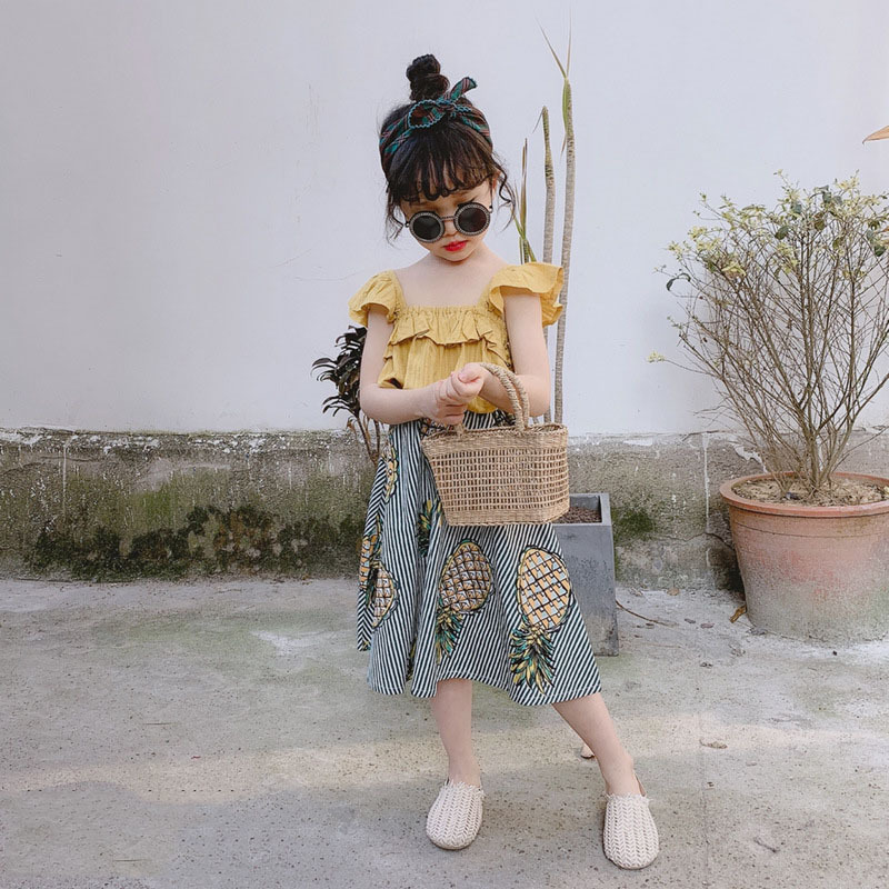 H266002dfc7194bf180679a87ba4139d6Q Humor Bear Girls Clothing Set 2020 Korean Summer New Ice Cream Bow T-shirt+Pants Kids Suit Toddler Baby Children's Clothes