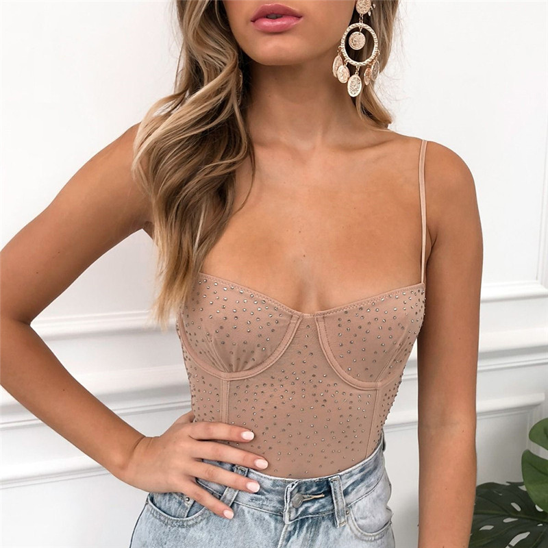 Perspective Mesh Women Bodysuits Transparent Rhinestone Sexy Rompers Nude Bodysuit Strapless Body Top Overalls Sleepwear M0210