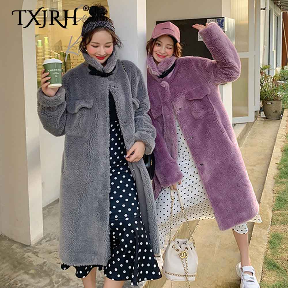 TXJRH Faux Lamb Fur Stand Collar Belt Decoration Pockets Curly Hairy Shaggy Outwear Jacket Long Coat Oversize Style Tops 4 Color