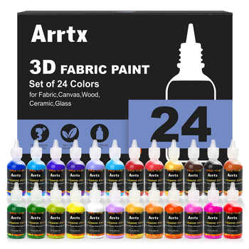 Arrtx 24 Assorted Colors 3D Fabric Paint 29ml/tube Not-toxic Paint Application for Wood/Ceramic/Glass/Metal Painting - DISCOUNT ITEM  20 OFF Education & Office Supplies