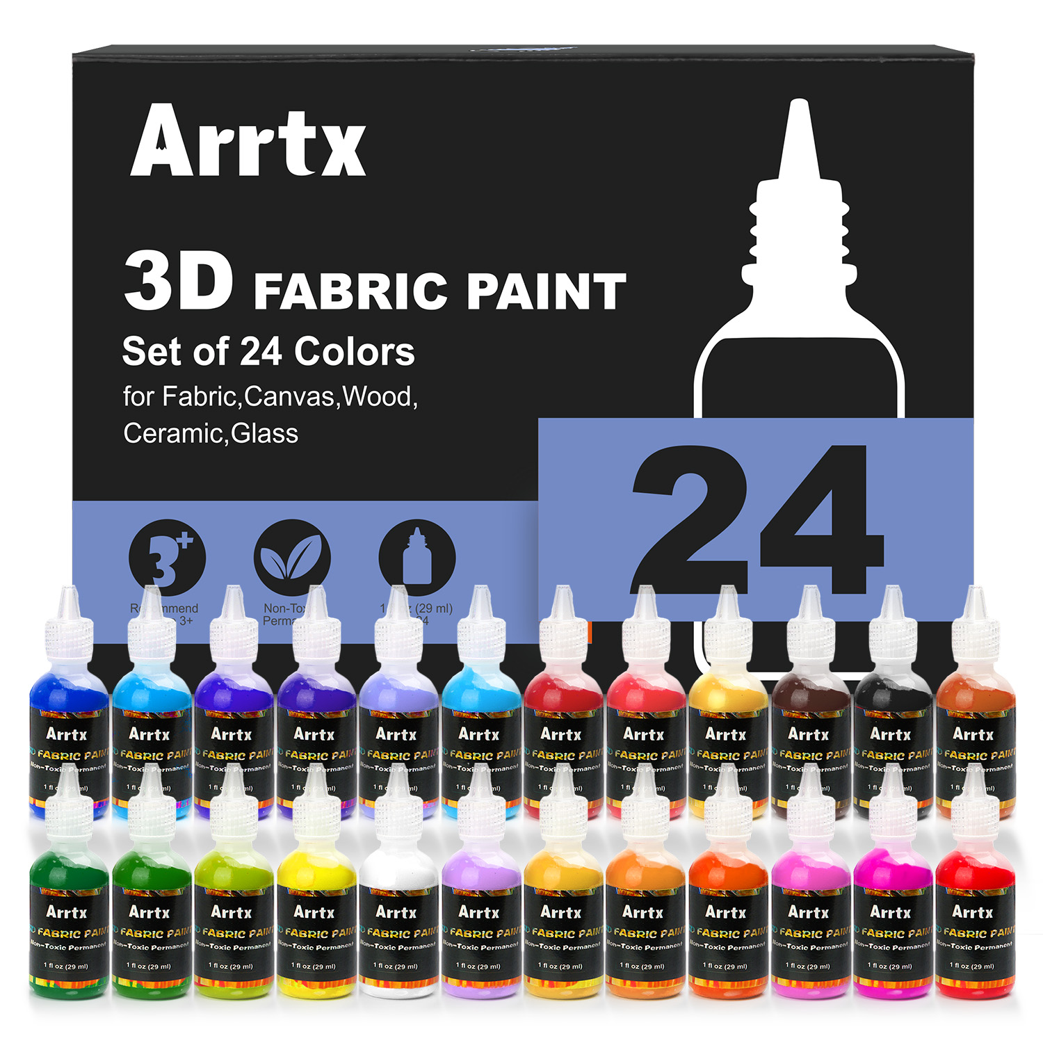 Arrtx 24 Assorted Colors 3D Fabric Paint 29ml/tube Not toxic Paint Application for Wood/Ceramic/Glass/Metal Painting