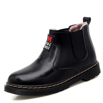 men fashion large size warm plush ankle boots slip-on cow leather winter shoes tooling chelsea boot zapatos de hombre botas man