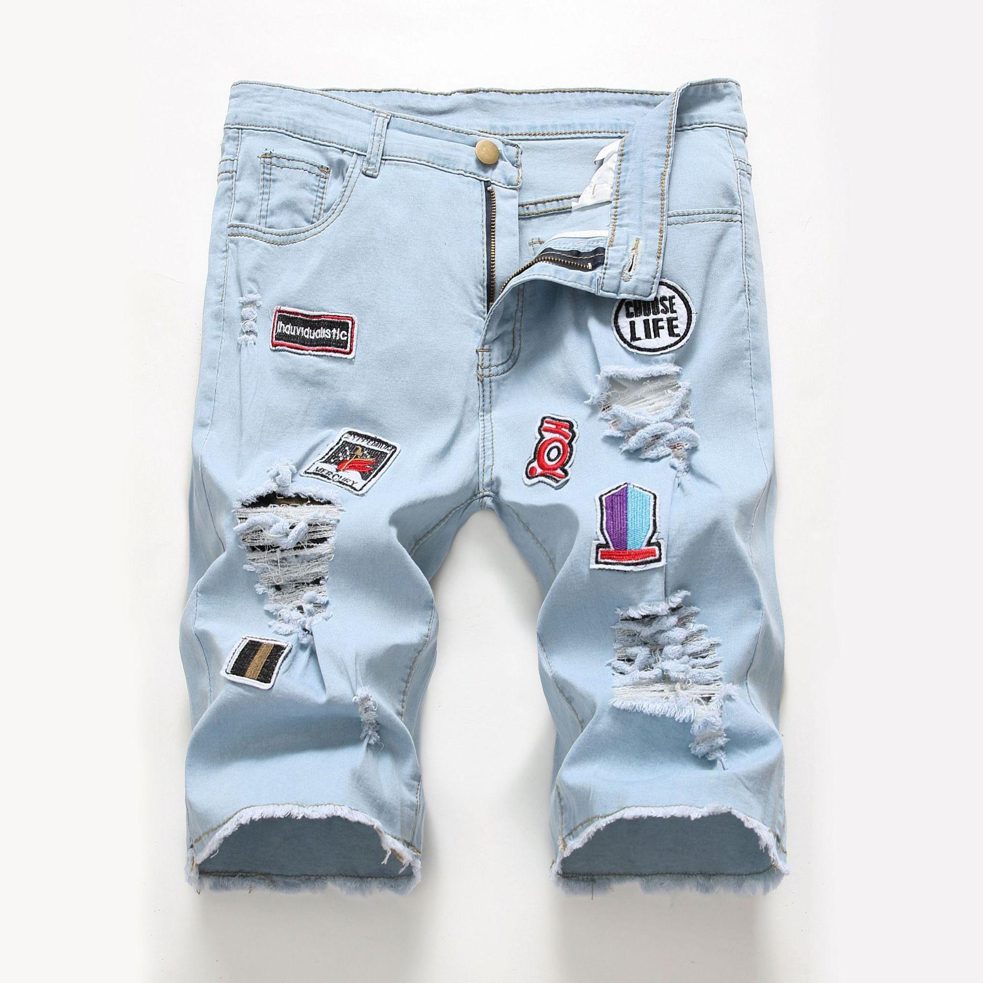 High Street Trend Cool Men'S Wear Fashion Popular High Street Hole Patch Ripped Jeans Elastic Denim Shorts