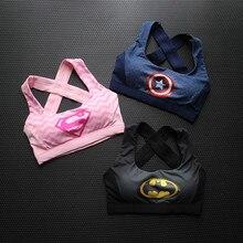 Captain America Superman Batman Sports Fitness Bra Top Woman Print 3D Breathable
