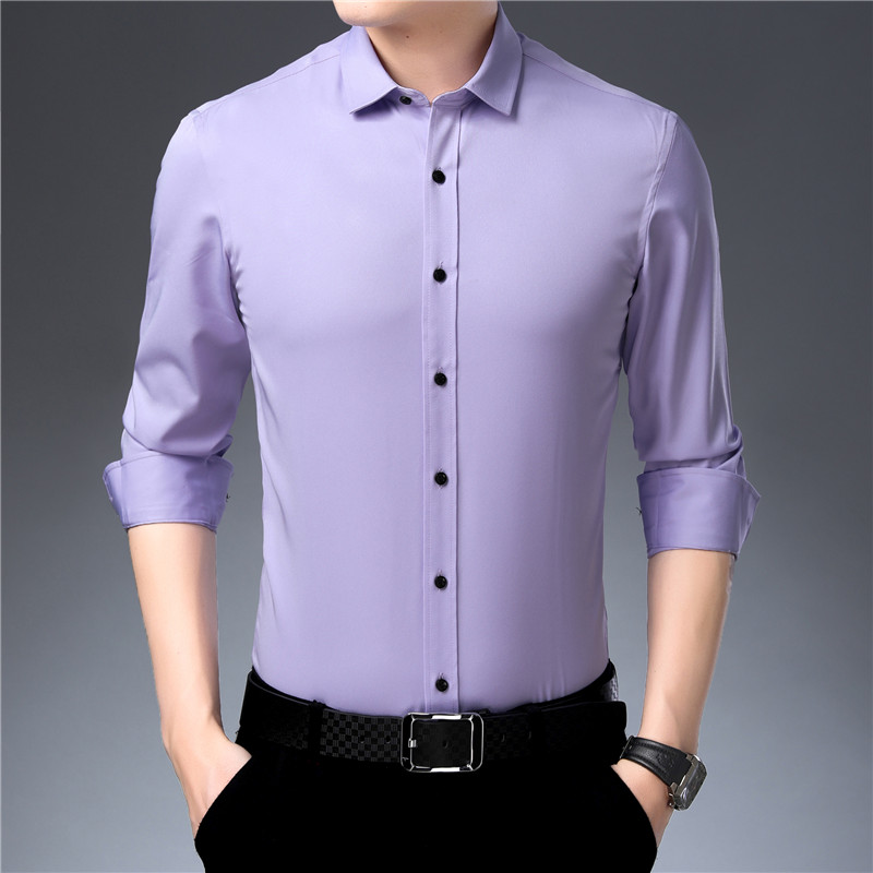 Bamboo Fiber Men Dress <font><b>Shirt</b></font> <font><b>Red</b></font> <font><b>Wine</b></font> Elasticty Slim Fit Long Sleeve Male Casual <font><b>Shirt</b></font> High Quality Soft Smooth Breathable 4XL image