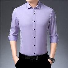 Fibra de bambu dos homens vestido camisa vinho tinto elástico fino ajuste manga longa masculino camisa casual alta qualidade suave respirável 4xl