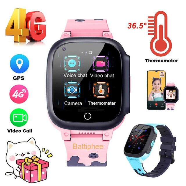 Battiphee 4G Kids Thermometer Watch T8W 4G Network HD Video Call GPS Location SIM Card SOS AntiLost Body Temperature Monitor