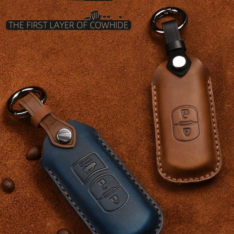 Leather Car Key Case Cover For Mazda 2 3 6 Axela Atenza CX-5 CX5 CX-7 CX-9 2014 17 Auto Key Shell